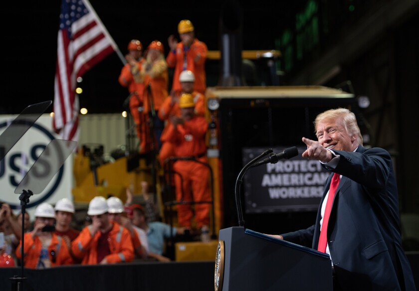 President Trump speaks about trade at U.S. Steel's Granite City Works steel mill in Granite City, Ill., on July 26, 2018.