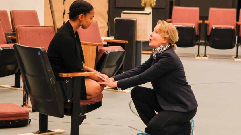 SAN DIEGO, CA May 30th 2018 | Nora Carroll (Miranda) (left) and Kate Burton (Prospera) (right) cast
