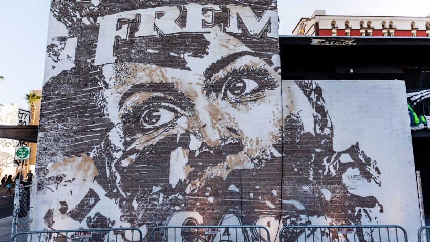 Portuguese street artist Vhils is known for his oversized portraits. This one covers a wall of the parking garage at the El Cortez hotel-casino. It can be viewed along 7th Street.