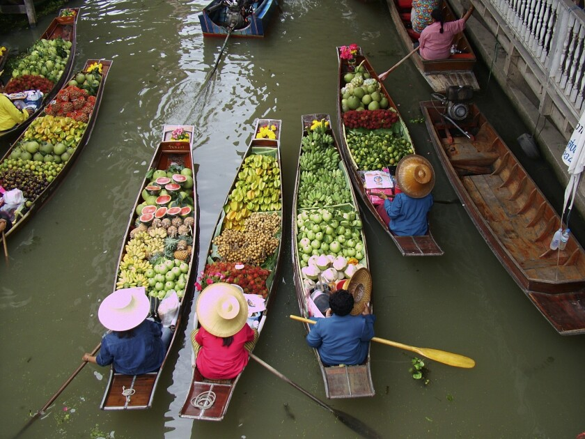 Thailand's floating flower market is a highlight on Adventure Life's 12-day tour.
