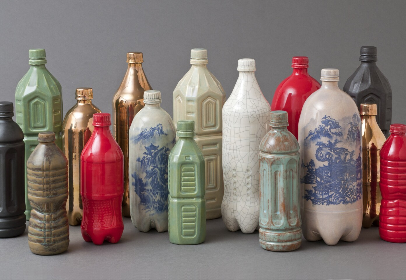 """""""Chinese Still Life #1"""" (2013). Porcelain, glaze, transfers, gold luster."""