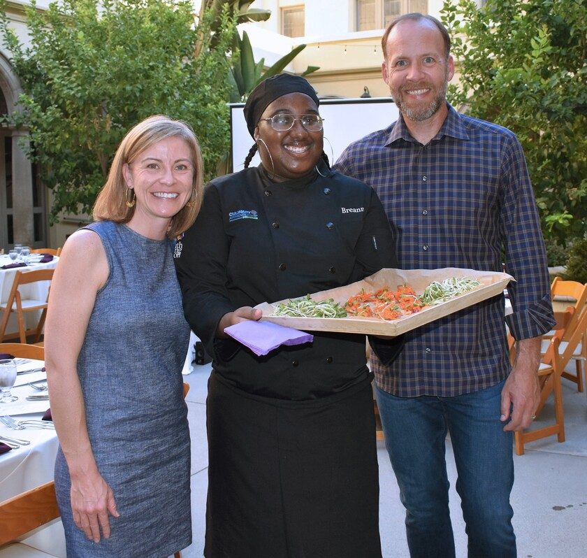 Sommer Cripps, from left, Breanne Collier and Jesse Cripps at the Hillsides' Culinary Apprenticeship Dinner on Aug. 25. Jesse Cripps is the Hillsides board chair and lives in La Cañada Flintridge.