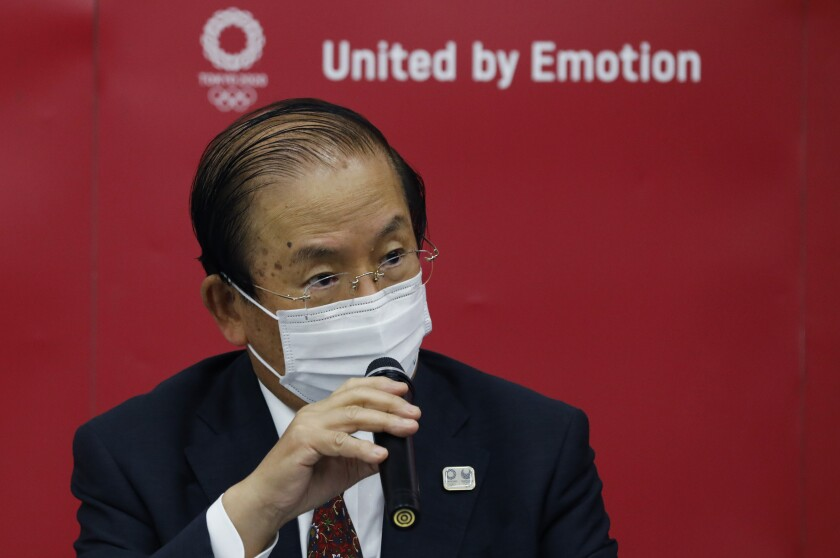 Tokyo organising committee CEO Toshiro Muto speaks at a news conference after IOC Executive Board Meeting in Tokyo, Wednesday, June 9, 2021. (Kim Kyung-Hoon/Pool photo via AP)