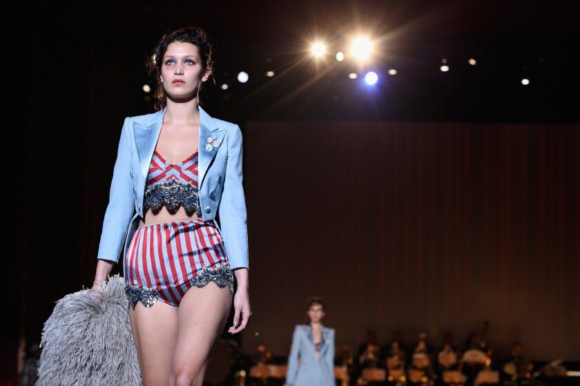 Bella Hadid walks the runway at the Marc Jacobs Spring 2016 fashion show during New York Fashion Week at Ziegfeld Theater on Sept. 17, 2015