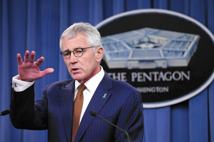 """Outgoing Defense Secretary Chuck Hagel cited """"indications of real progress"""" in combating sexual assault within the military, but added, """"We still have a long way to go."""""""