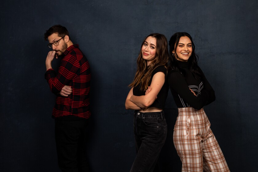 """Actors Andy Samberg, Cristin Milioti and Camila Mendes of """"Palm Springs,"""" photographed in the L.A. Times Studio at the Sundance Film Festival."""
