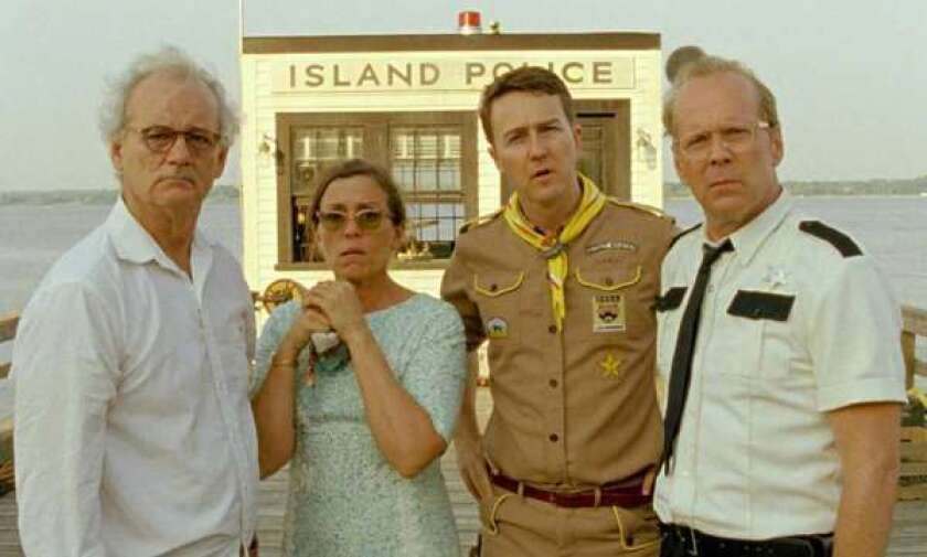 """Wes Anderson's """"Moonrise Kingdom"""" received five Spirit Award nominations Tuesday, including one for Bruce Willis, right."""