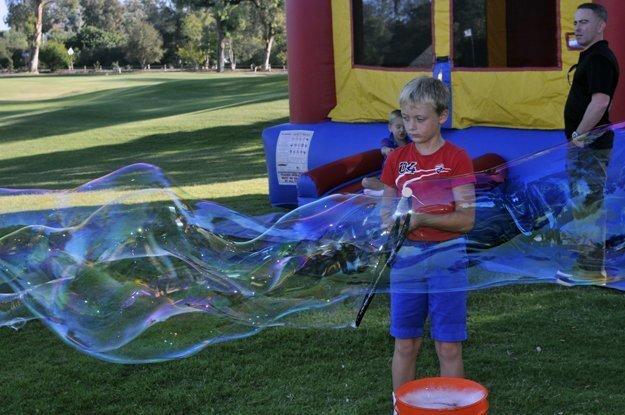 Julian making bubbles
