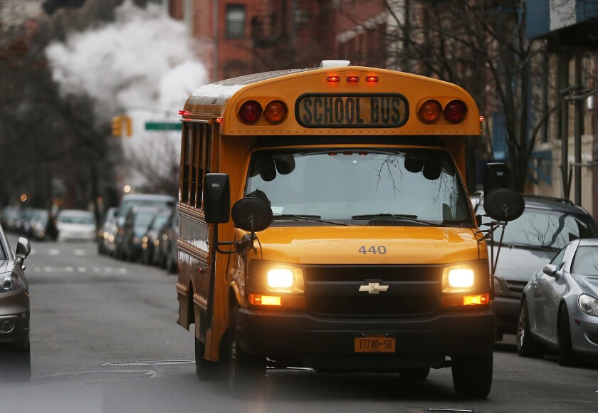 A bus driver (not pictured) allowed three students to drive the bus, according to police.