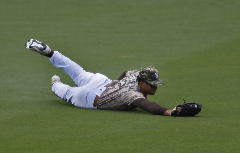Center fielder Trent Grisham makes a diving catch to rob the Cardinals' Harrison Bader of a hit.