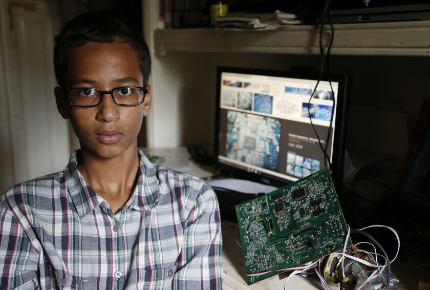 Irving MacArthur High School student Ahmed Mohamed, 14, poses for a photo at his home in Irving, Texas, on Tuesday, Sept. 15. Mohamed was arrested and interrogated by Irving Police officers on Monday after bringing a homemade clock to school.