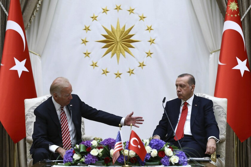 FILE - In this Aug. 24, 2016, file photo, U.S. Vice President Joe Biden, left, and Turkish President Recep Tayyip Erdogan speak to the media after a meeting in Ankara, Turkey. Biden and Turkish counterpart Erdogan have known each other for years, but their meeting Monday, June 14, 2021, will be their first as heads of state. And it comes at a particularly tense moment for relations between their two countries. (Kayhan Ozer/Presidential Press Service Pool via AP, File)