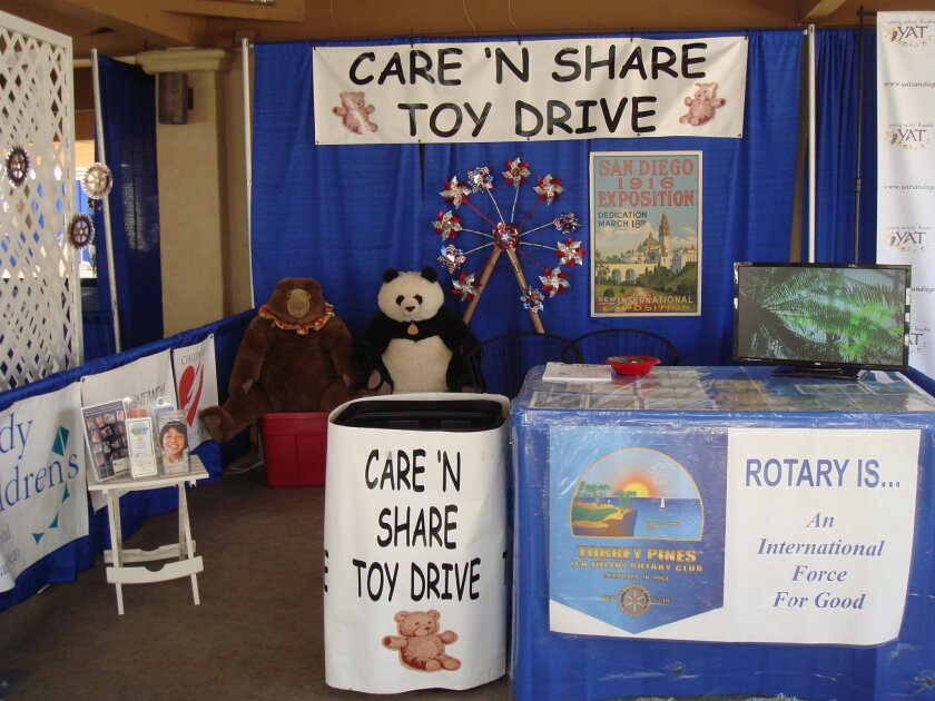 Del Mar Library is partnering with the Torrey Pines Rotary Club during June to collect new and gently used stuffed animals for the Rotary Club's Care 'n Share Toy Drive.