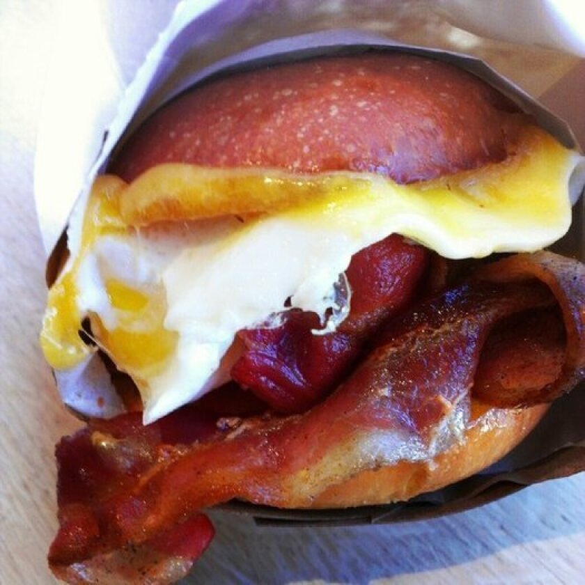One of the breakfast sandwiches at Egg Slut, which will be open at 8 a.m. daily at Grand Central Market.