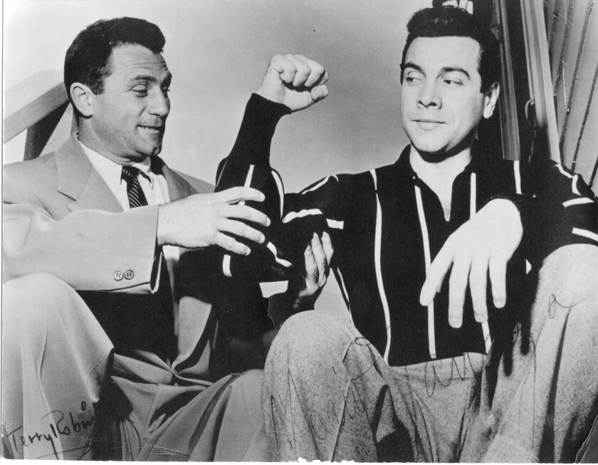 Circa 1950 photo of Terry Robinson, left, and Mario Lanza.