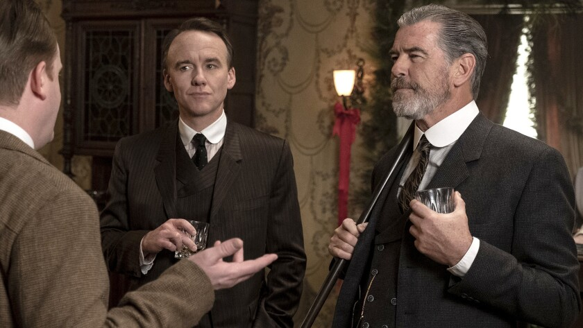 """David Wilson Barnes and Pierce Brosnan in a new episode of the Western """"The Son"""" on AMC."""