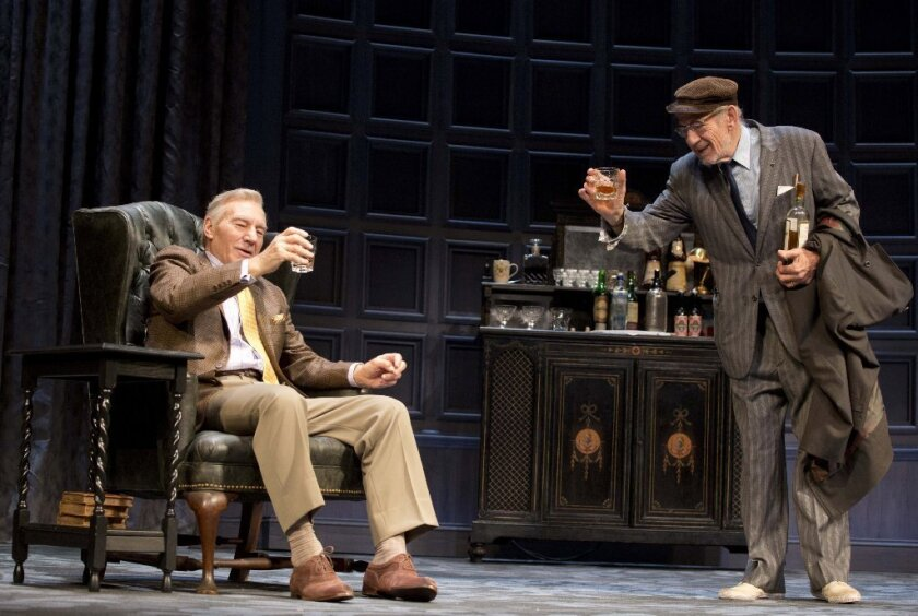 "Patrick Stewart, left, and Ian McKellen, in Harold Pinter's play ""No Man's Land, "" directed by Sean Mathias, at the Cort Theatre in New York."