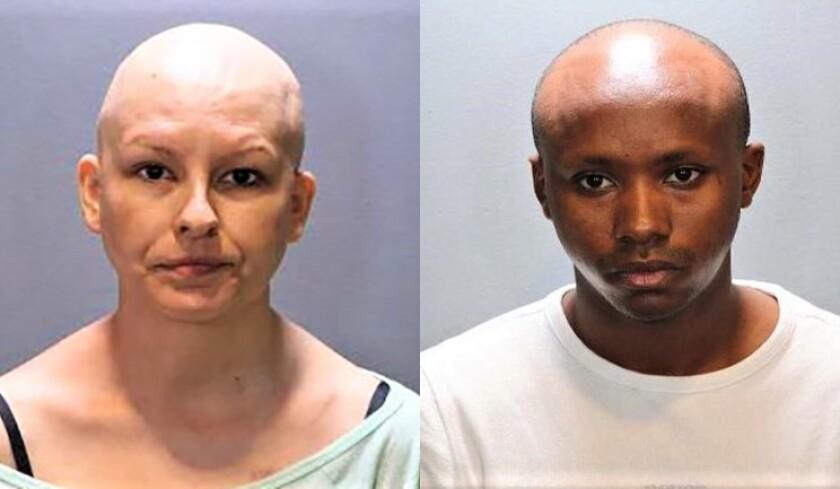 Meghann Carrie Carlisle, 38, of Costa Mesa, left, with Stewart Leacky Waithanji, 28, of Costa Mesa.