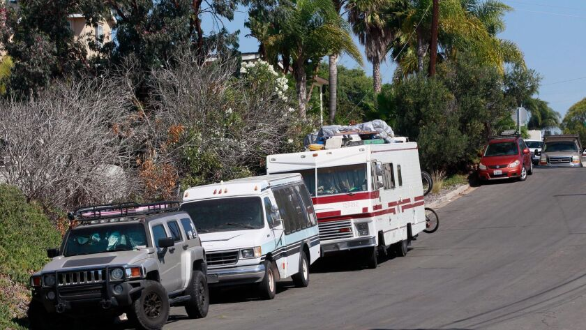 An RV parked on Frankfort Street in Bay Park. Homeless disabled people are challenging San Diego's RV parking law.