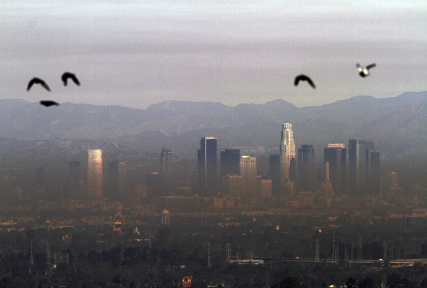 California's progress in cleaning polluted air could be at risk from climate change, a new report says. Above, a view of downtown Los Angeles from Hilltop Park in Signal Hill.