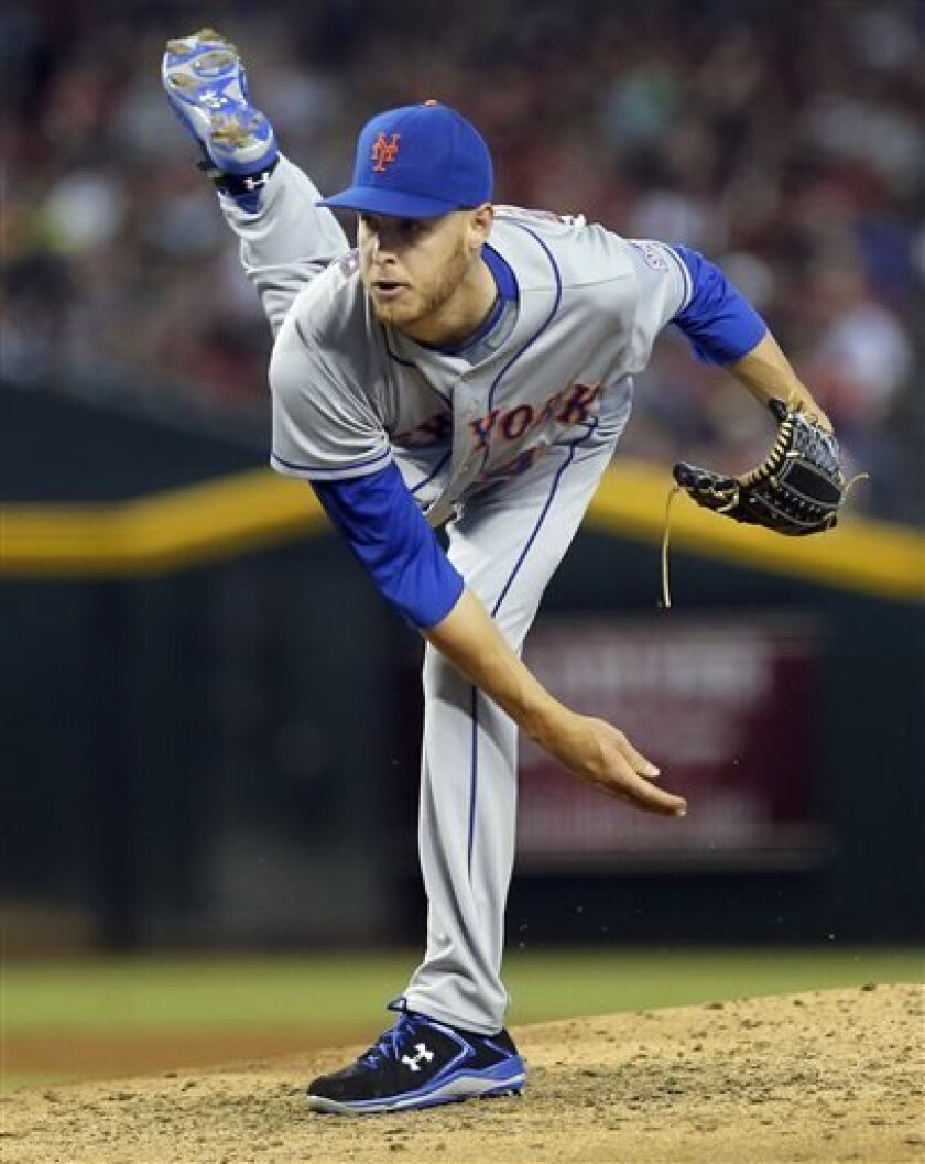 New York Mets pitcher Zack Wheeler delivers against the Arizona Diamondbacks during the second inning of a baseball game, Saturday, Aug. 10, 2013, in Phoenix. (AP Photo/Matt York)