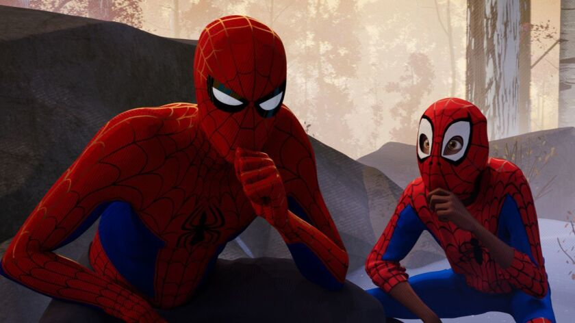 (L-R) - Peter Parker (Jake Johnson) and Miles Morales (Shameik Moore) in Columbia Pictures and Sony