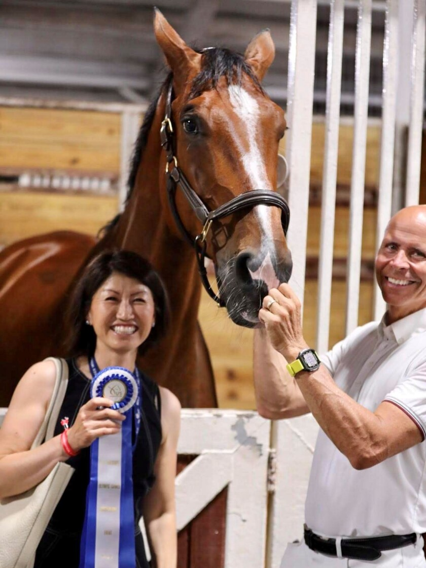 Carmel Valley's Steffen Peters, right, shown with Suppenkasper and owner-sponsor Akiko Yamazaki at the recent Olympic Trials.