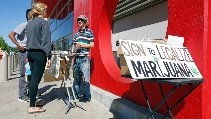 Signature gatherer looks for supporters of a petition to legalize marijuana in California