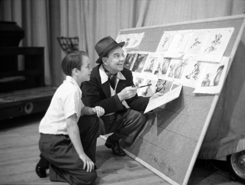 Dick Jones (1927-2014) -- Actor best known as the voice of Pinocchio, left, with Cliff Edwards the voice of Jiminy Cricket.