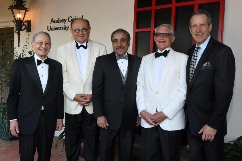 Edward Dennis, Victor Woo, Pradeep Khosla (UCSD chancellor; gala host), Steve Ré, Dane Chapin