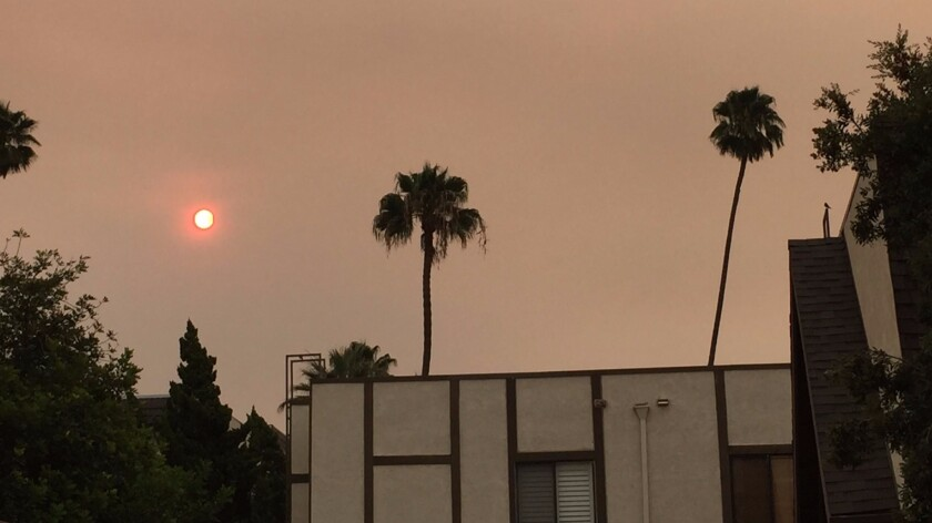 A view of the Saturday morning sun from Pasadena.