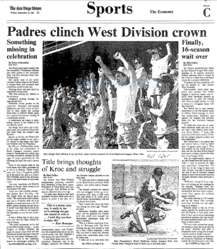 The Sports section cover of the San Diego Union on Sept. 21, 1984, the day after Padres clinched their first NL West title.