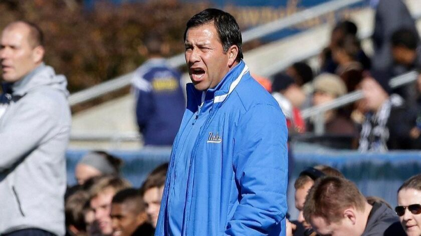 UCLA men's soccer coach Jorge Salcedo compiled a 182-89-4 record in 15 seasons.