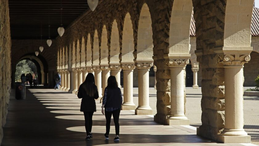 Students at Stanford, one of the elite universities tied up in the college admissions scandal.