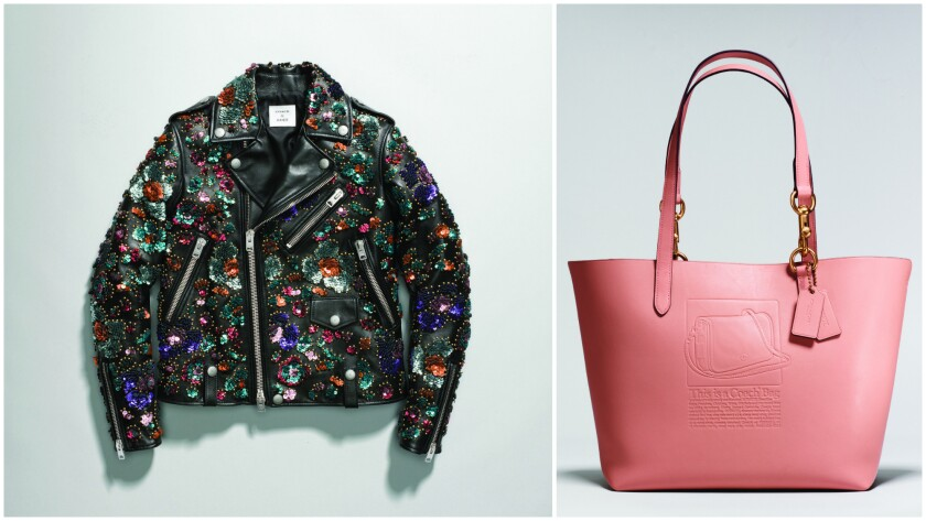 A motorcycle jacket covered in floral sequin appliques from the Coach & Rodarte collection ($3,500).