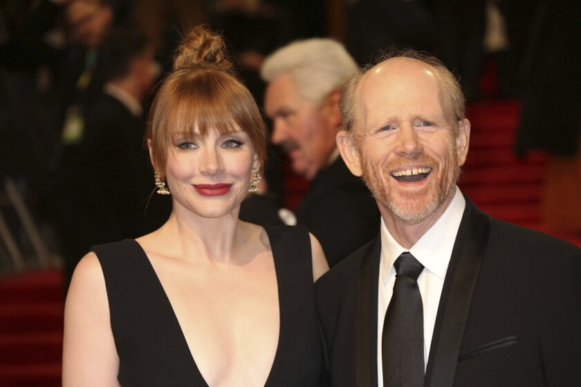Bryce Dallas Howard and her father, director Ron Howard, at the British Academy Film Awards in 2017.