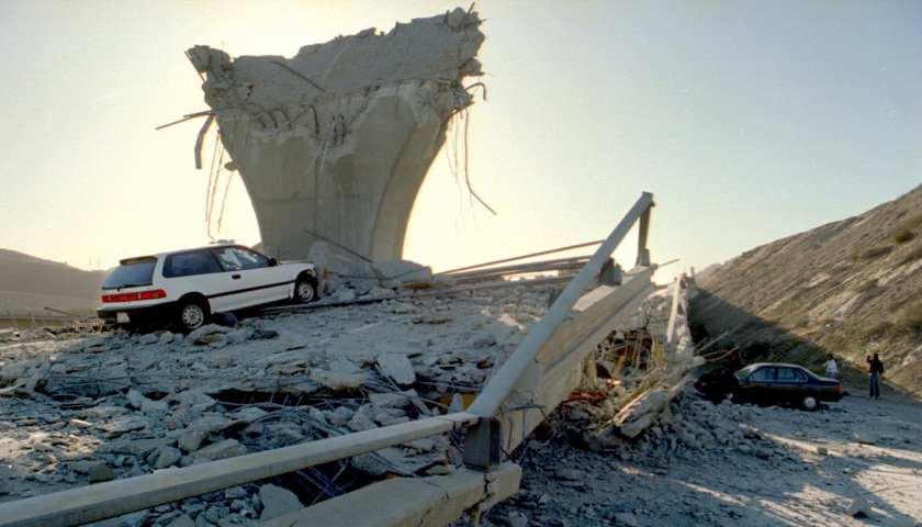 After the Northridge earthquake in 1994, only rubble remained at the junction of Interstate 5 and California 14.
