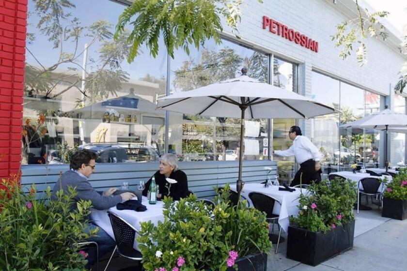 Customers were having lunch at Petrossian in West Hollywood.
