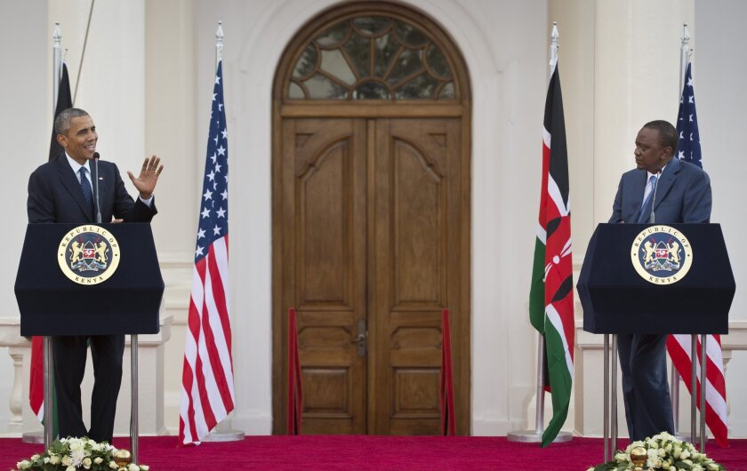 President Obama and Kenyan President Uhuru Kenyatta answer reporters' questions after a meeting Saturday at the State House in Nairobi.