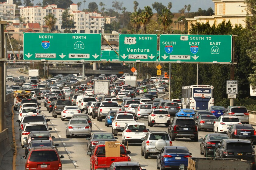 Rush hour at the intersection of the 110 and 101 freeways on June 15.