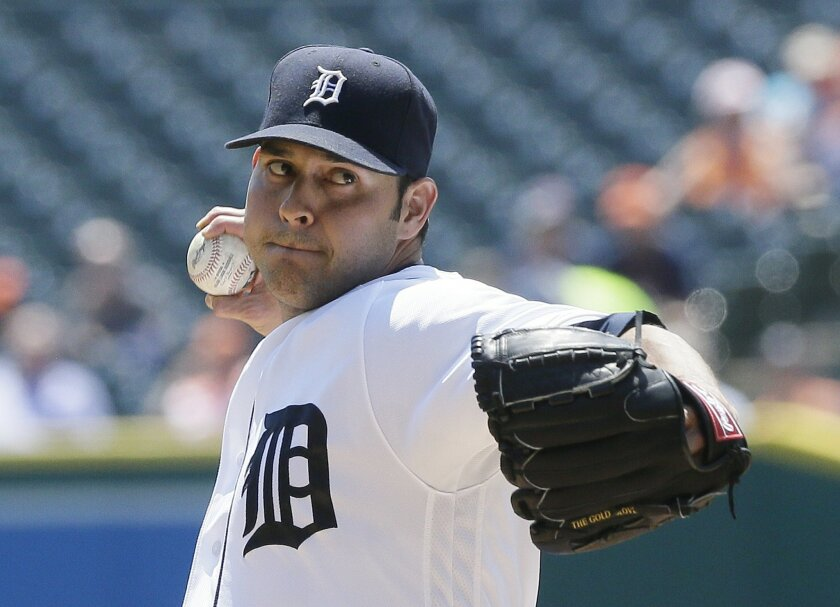 Detroit Tigers starting pitcher Anibal Sanchez throws during the first inning of a baseball game against the Philadelphia Phillies, Wednesday, May 25, 2016, in Detroit. (AP Photo/Carlos Osorio)