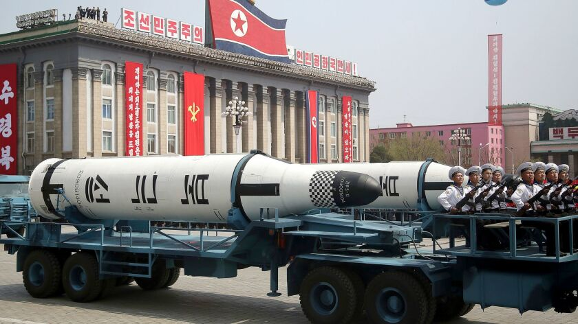 A missile is displayed in a North Korean military parade in Pyongyang in April 2017.