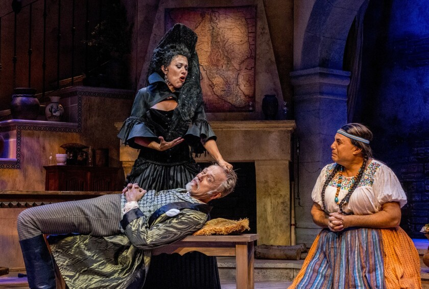"""Roxane Carrasco, Mark Pinter and Herbert Siguenza (left to right) in Siguenza's world-premiere San Diego Rep play """"Manifest Destinitis."""""""