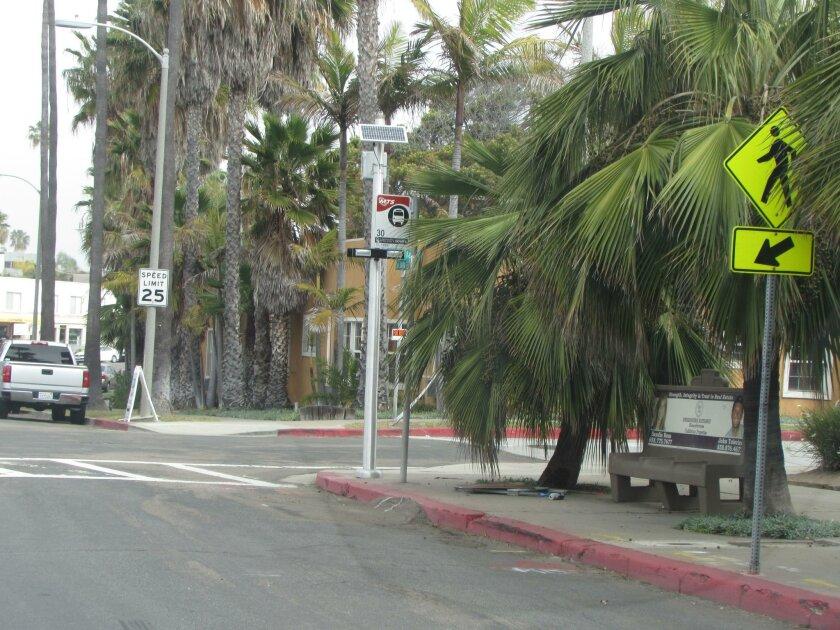 The new crosswalk at Gravilla Street and La Jolla Blvd.
