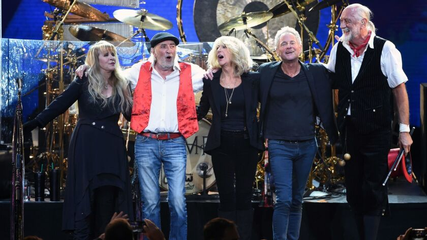 Fleetwood Mac's Stevie Nicks, from left, John McVie, Christine McVie, Lindsey Buckingham and Mick Fleetwood at Friday's MusiCares Person of the Year benefit in New York.