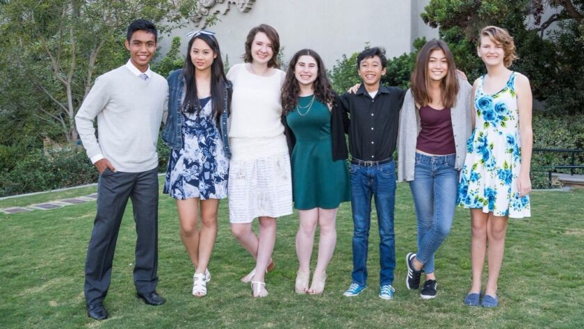 Playwrights Matthew Maceda, 17 'The Dumping Ground', Cassandra Hsiao, 16 'Supermarket of Lost', Katie Taylor, 18 'Pros and Cons', Eliana Dunn, 16 'Hackathon', Minh-Son Tran, 13, and Samantha Rafter, 14 'A Play on Words' and Absinthe McDonald, 12 'Turtle on a Rock'
