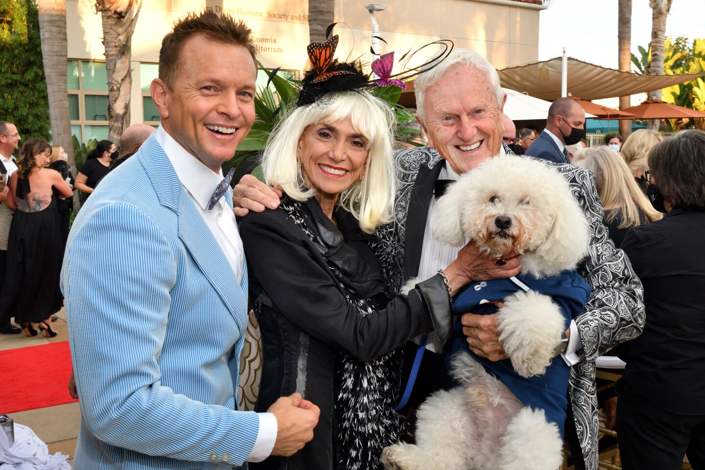 """Ryan Jeffcoat, Joyce Gattas, Jay Jeffcoat and Buddy """"the Wonder Dog"""" don their """"old Hollywood"""" attire for the Fur Ball."""
