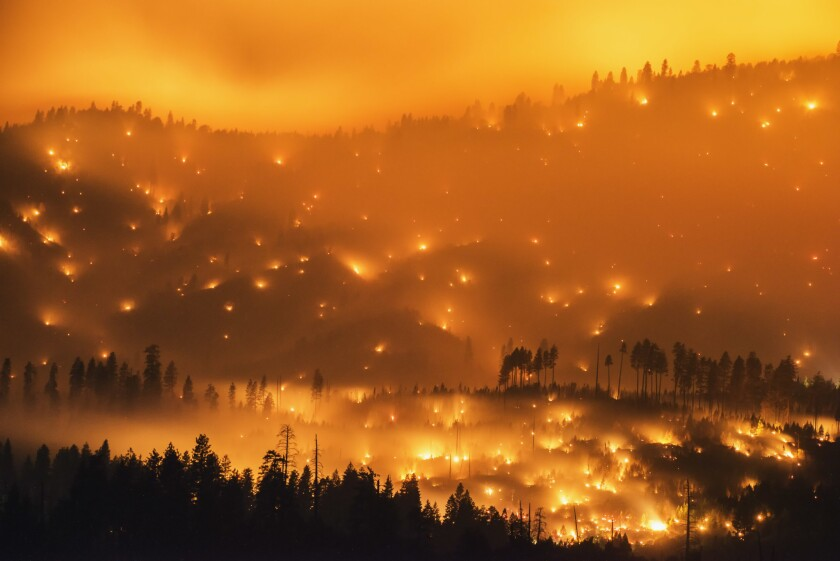 """The El Portal fire, burning near Yosemite National Park in July 2014, is among the subjects in photographer Stuart Palley's new book, """"Terra Flamma: Wildfires at Night."""""""
