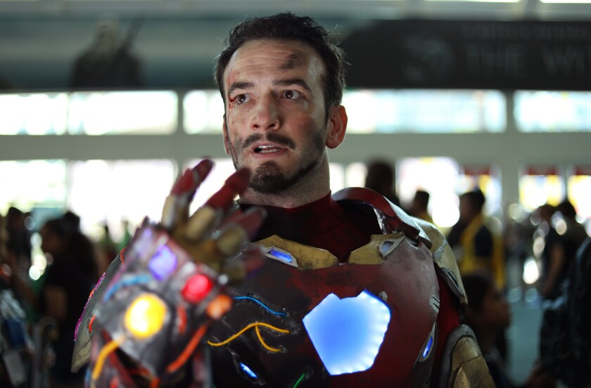 Cash Branson of Pittsburgh dressed as Iron Man  at Comic-Con International in San Diego on July 18, 2019.