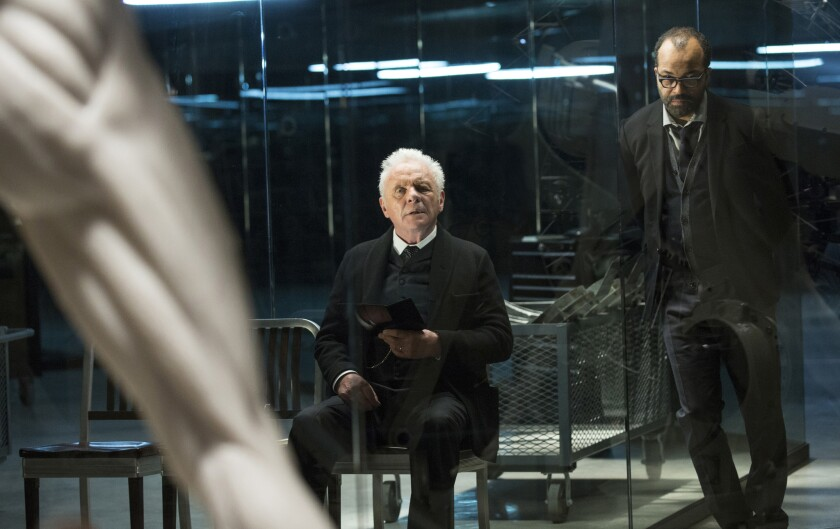 """Anthony Hopkins, left, and Jeffrey Wright star in HBO's next big thing: A multilayered re-imagining of """"Westworld."""""""